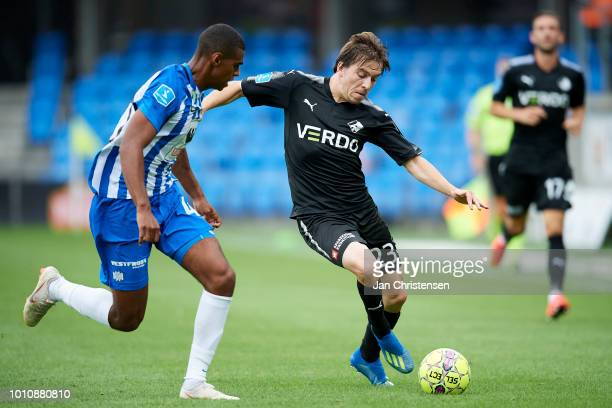 Daniel Anyembe of Esbjerg fB and Saba Lobzhanidze of Randers FC compete for the ball during the Danish Superliga match between Esbjerg fB and Randers...