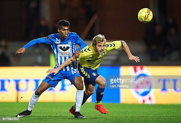 Daniel Anyembe of Esbjerg fB and Teemu Pukki of Brondby IF compete for the ball during the Danish Alka Superliga match between Esbjerg fB and Brondby...