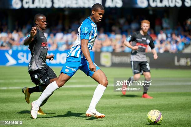 Daniel Anyembe of Esbjerg fB controls the ball during the Danish Superliga match between Esbjerg fB and Vendsyssel FF at Blue Water Arena on July 21...
