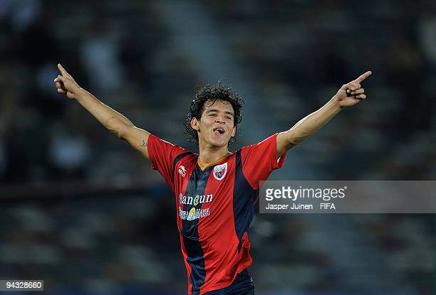 Daniel Arreola of Atlante celebrates scoring Atlante's opening goal during the FIFA Club World Cup quarter-final match between Auckland City and...