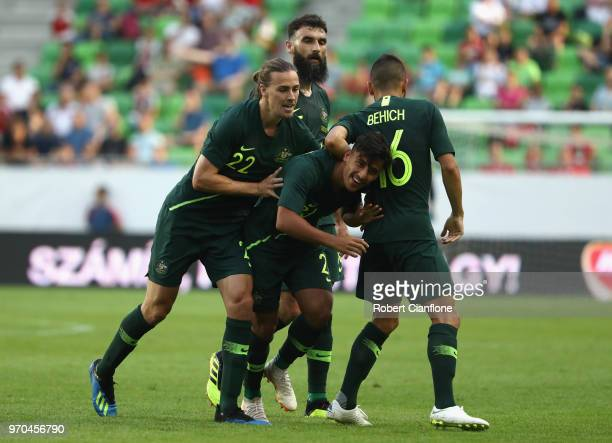 Daniel Arzani of Australia celebrates after scoring a goal during the International Friendly match between Hungary and Australia at Groupama Arena on...