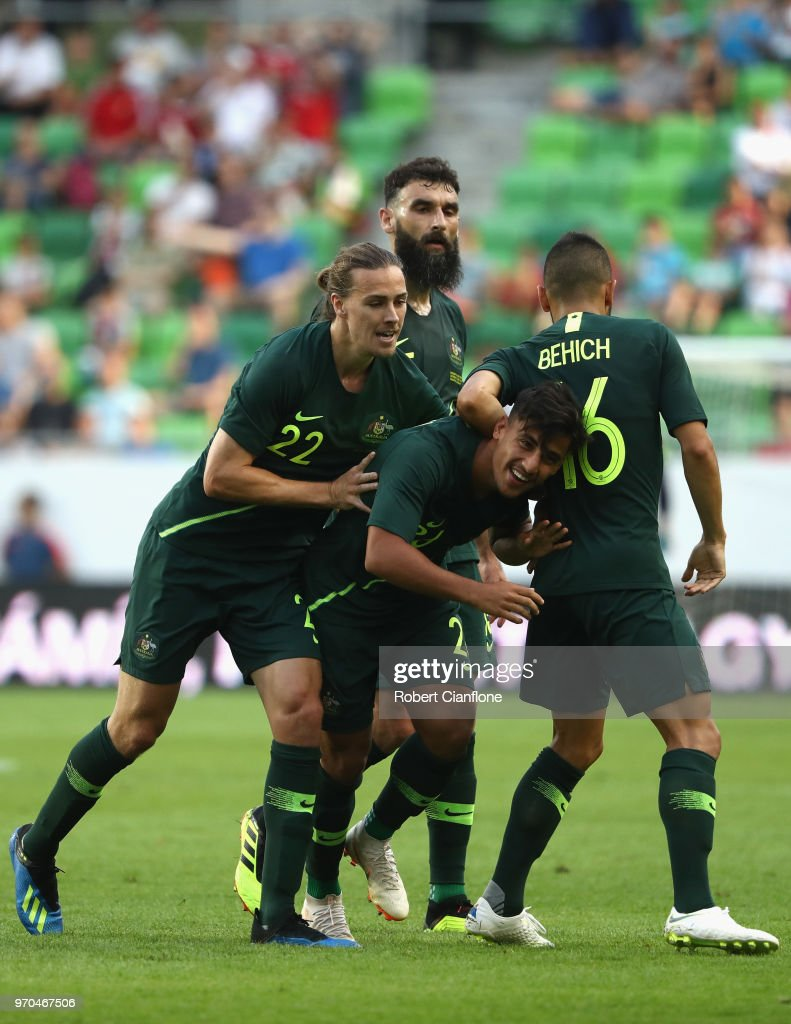 Daniel Arzani of Australia celebrates after scoring a goal during the International Friendly match between Hungary and Australia at Groupama Arena on June 9, 2018 in Budapest, Hungary.