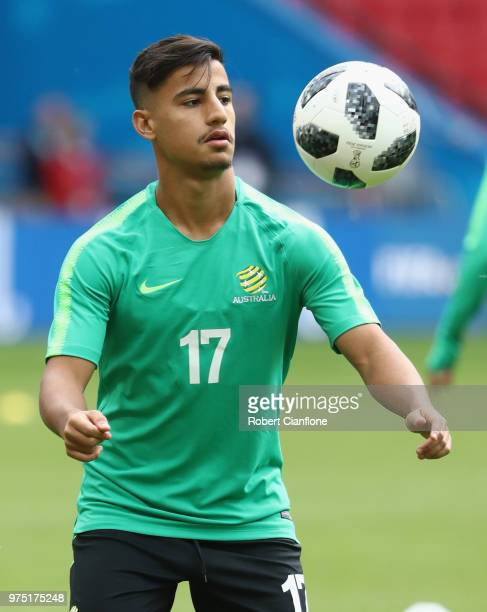 Daniel Arzani of Australia controls the ball during an Australia Socceroos media opportunity at Kazan Arena on June 15 2018 in Kazan Russia