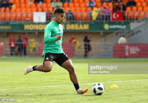 Daniel Arzani of Australia controls the ball during an Australian Socceroos training session ahead of the FIFA World Cup 2018 in Russia at Stadium...