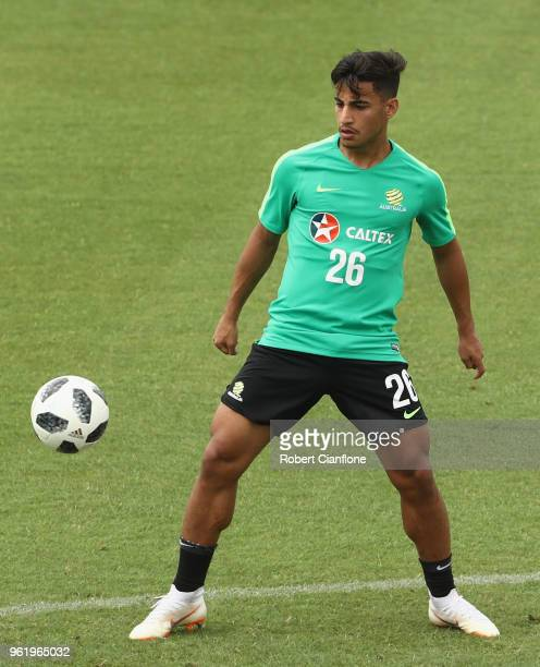 Daniel Arzani of Australia controls the ball during the Australian Socceroos Training Session at the Gloria Football Club on May 24 2018 in Antalya...