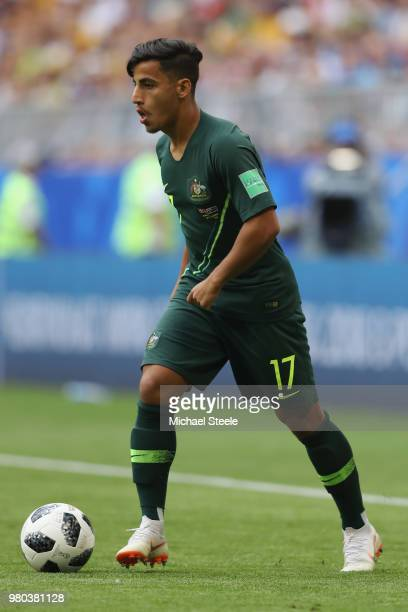 Daniel Arzani of Australia during the 2018 FIFA World Cup Russia group C match between Denmark and Australia at Samara Arena on June 21 2018 in...