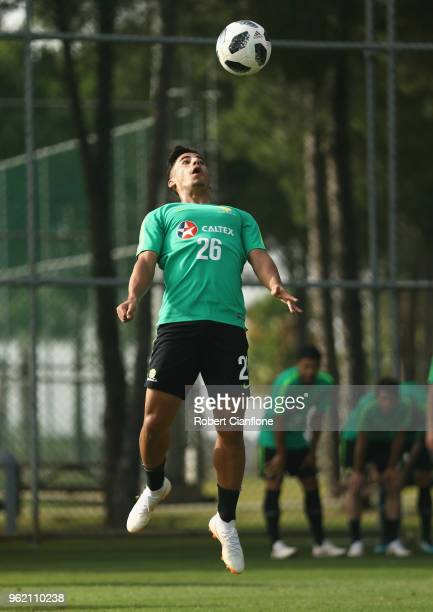 Daniel Arzani of Australia heads the ball during the Australian Socceroos Training Session at the Gloria Football Club on May 24 2018 in Antalya...