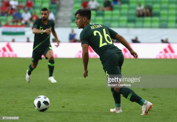 Daniel Arzani of Australia lines up his shot on goal during the International Friendly match between Hungary and Australia at Groupama Arena on June...