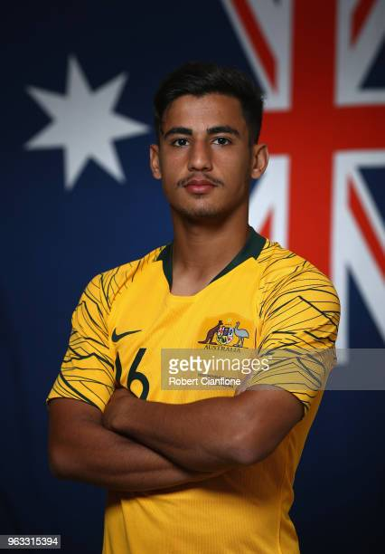 Daniel Arzani of Australia poses during the Australian Socceroos Portrait Session at the Gloria Football Club on May 28 2018 in Antalya Turkey