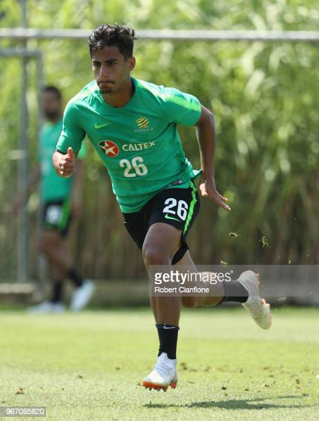 Daniel Arzani of Australia runs during the Australian Socceroos Training Session at the Gloria Football Club on June 4 2018 in Antalya Turkey