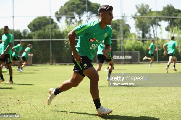 Daniel Arzani of Australia runs during the Australian Socceroos Training Session at the Gloria Football Club on June 7 2018 in Antalya Turkey