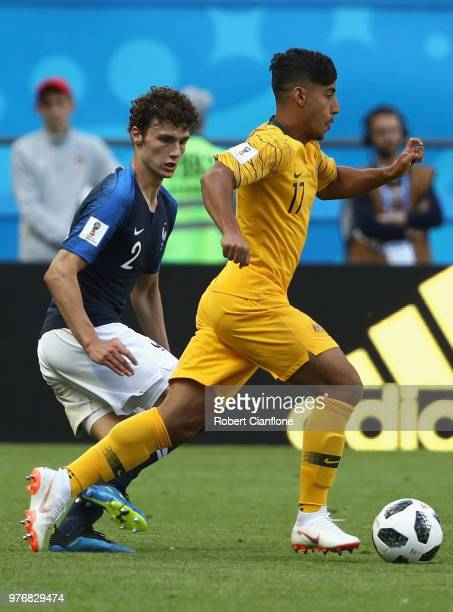 Daniel Arzani of Australia runs with the ball during the 2018 FIFA World Cup Russia group C match between France and Australia at Kazan Arena on June...