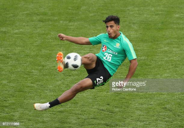 Daniel Arzani of Australia shoots on goal during an Australia Socceroos training session ahead of the FIFA World Cup 2018 at Stadium Trudovye Rezervy...
