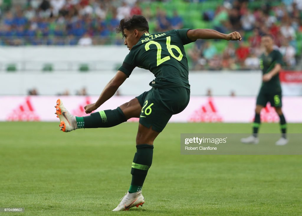 Daniel Arzani of Australia shoots on goal to score during the International Friendly match between Hungary and Australia at Groupama Arena on June 9, 2018 in Budapest, Hungary.