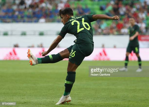Daniel Arzani of Australia shoots on goal to score during the International Friendly match between Hungary and Australia at Groupama Arena on June 9...