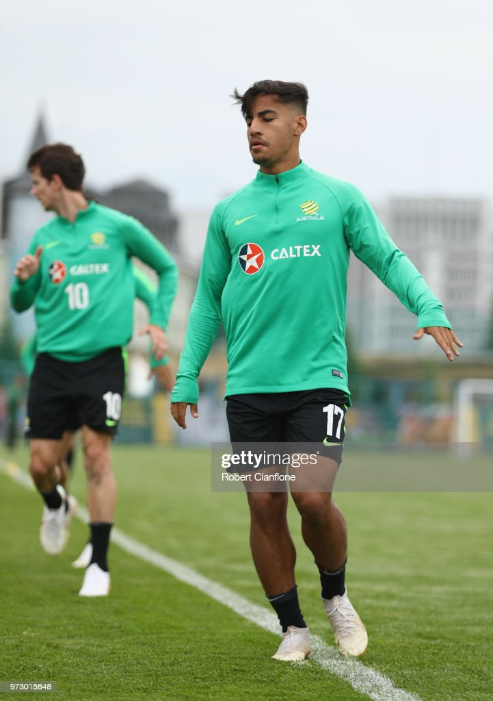 Daniel Arzani of Australia warms up during an Australia Socceroos training session ahead of the FIFA World Cup 2018at Stadium Trudovye Rezervy on June 13, 2018 in Kazan, Russia.