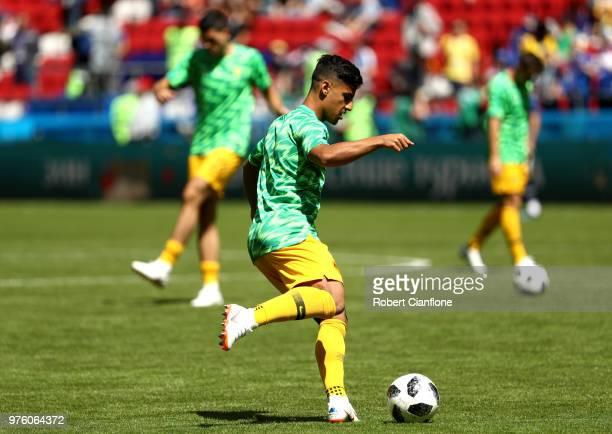 Daniel Arzani of Australia warms up prior to the 2018 FIFA World Cup Russia group C match between France and Australia at Kazan Arena on June 16 2018...