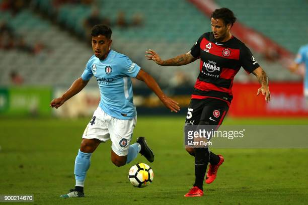 Daniel Arzani of City kicks the ball during the round 13 ALeague match between the Western Sydney Wanderers and Melbourne City at ANZ Stadium on...