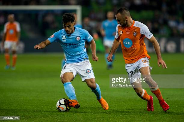 Daniel Arzani of Melbourne City and Ivan Franjic of the Brisbane Roar contest the ball during the Elimination Final of the Hyundai ALeague Series...