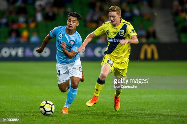 Daniel Arzani of Melbourne City and Kye Rowles of the Central Coast Mariners contest the ball during Round 26 of the Hyundai ALeague Series between...