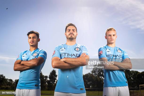 Daniel Arzani of Melbourne City Bruno Fornaroli of Melbourne City and Nathaniel Atkinson of Melbourne City pose for a photo during a Melbourne City...