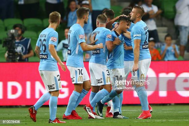 Daniel Arzani of Melbourne City celebrates a goal with team mates during the round 18 ALeague match between Melbourne City FC and the Newcastle Jets...
