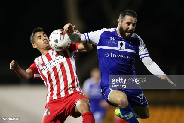 Daniel Arzani of Melbourne City competes for the ball against Gideon Sweet of Hakoah during the FFA Cup round of 16 match between Hakoah Sydney City...