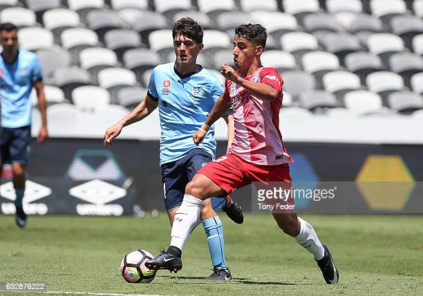 Daniel Arzani of Melbourne City controls the ball during the 2017 Youth League Grand Final match between Melbourne City FC and Sydney FC at Central...