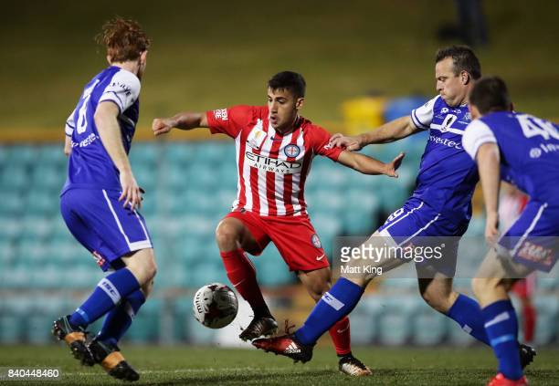 Daniel Arzani of Melbourne City controls the ball during the FFA Cup round of 16 match between Hakoah Sydney City East and Melbourne City FC at...