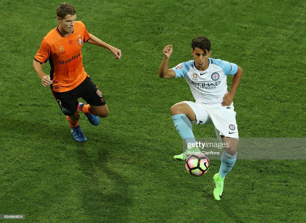 Daniel Arzani of Melbourne City controls the ball during the round 19 A-League match between Melbourne City FC and the Brisbane Roar at AAMI Park on February 11, 2017 in Melbourne, Australia.