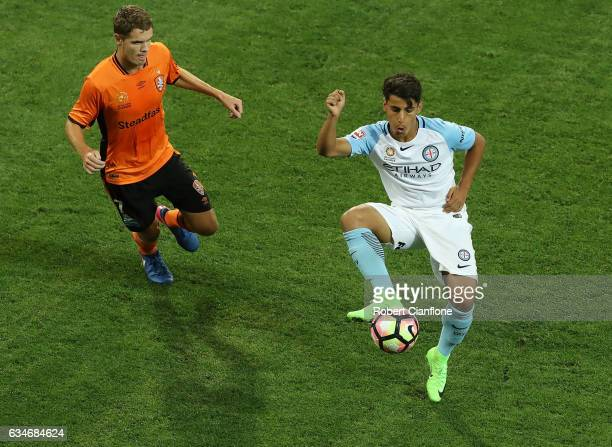 Daniel Arzani of Melbourne City controls the ball during the round 19 ALeague match between Melbourne City FC and the Brisbane Roar at AAMI Park on...