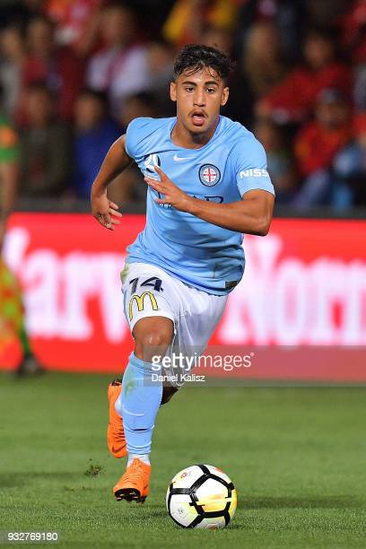 Daniel Arzani of Melbourne City controls the ball during the round 23 ALeague match between Adelaide United and Melbourne City at Coopers Stadium on...