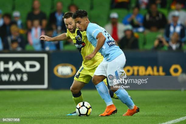 Daniel Arzani of Melbourne City controls the ball during the round 26 ALeague match between Melbourne City and the Central Coast Mariners at AAMI...