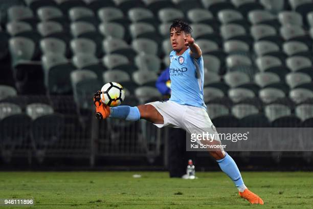 Daniel Arzani of Melbourne City controls the ball during the round 27 ALeague match between the Wellington Phoenix and Melbourne City FC at QBE...