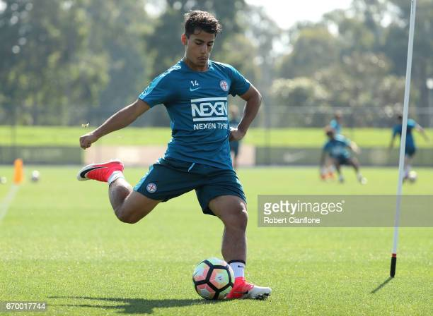Daniel Arzani of Melbourne City kicks the ball during a Melbourne City ALeague training session at City Football Academy on April 19 2017 in...