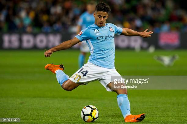 Daniel Arzani of Melbourne City kicks the ball during Round 26 of the Hyundai ALeague Series between Melbourne City and the Central Coast Mariners on...