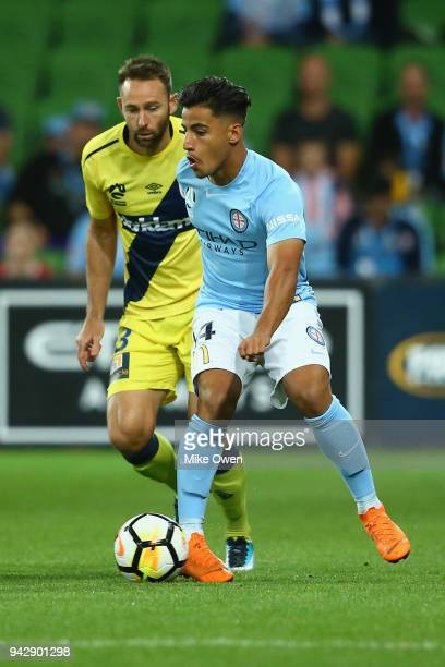 Daniel Arzani of Melbourne City passes the ball during the round 26 ALeague match between Melbourne City and the Central Coast Mariners at AAMI Park...