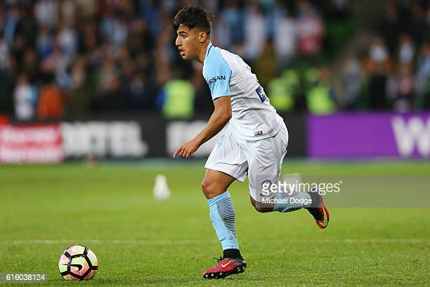 Daniel Arzani of Melbourne City runs with the ball during the round three ALeague match between Melbourne City FC and Perth Glory at AAMI Park on...