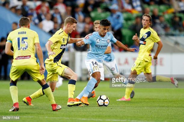 Daniel Arzani of Melbourne City runs with the ball during the round 26 ALeague match between Melbourne City and the Central Coast Mariners at AAMI...