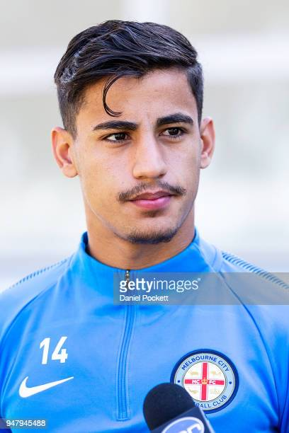 Daniel Arzani of Melbourne City speaks to the media during a Melbourne City FC ALeague media opportunity at City Football Academy on April 18 2018 in...