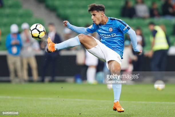 Daniel Arzani of Melbourne City warms up before the ALeague Elimination Final match between the Melbourne City and the Brisbane Roar at AAMI Park on...