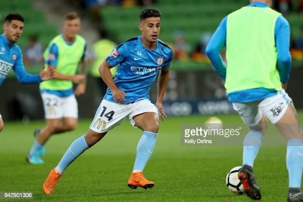 Daniel Arzani of Melbourne City warms up prior to the round 26 ALeague match between Melbourne City and the Central Coast Mariners at AAMI Park on...