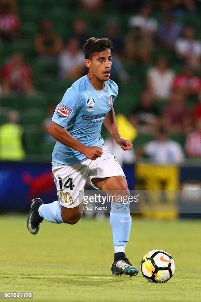 Daniel Arzani of Melbourne controls the ball during the round 15 ALeague match between the Perth Glory and Melbourne City FC at nib Stadium on...