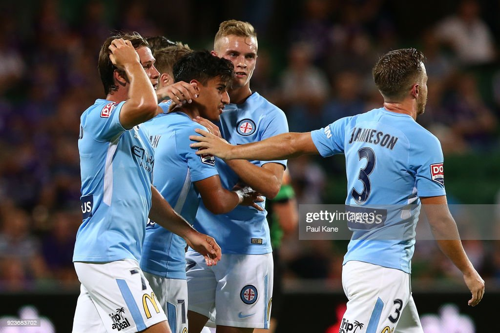 Daniel Arzani of Melbourne is congratulated by tream mates after scoring a goal during the round 21 A-League match between the Perth Glory and Melbourne City FC at nib Stadium on February 24, 2018 in Perth, Australia.