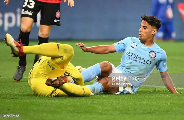 Daniel Arzani of the City and Verdant Janjetovic of the Wanderers compete for the ball during the round 24 ALeague match between Melbourne City and...