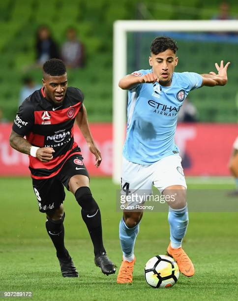 Daniel Arzani of the City controls the ball during the round 24 ALeague match between Melbourne City and the Western Sydney Wanderers at AAMI Park on...