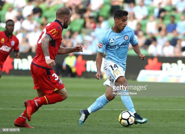 Daniel Arzani of the City runs with the ball during the round 17 ALeague match between Melbourne City and Adelaide united at AAMI Park on January 21...