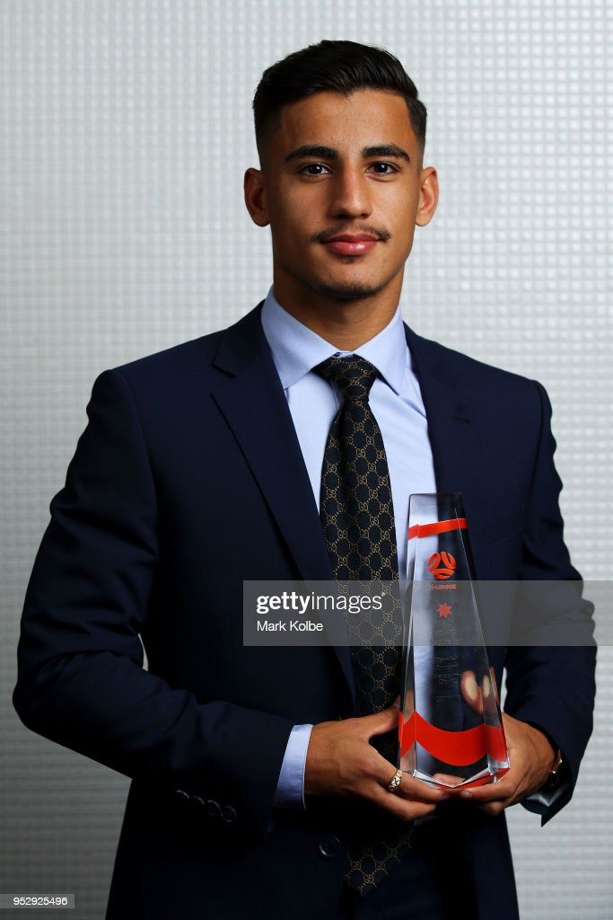Daniel Arzani of the Melbourne City FC poses with the Hyundai A-League NAB Young Footballer of the Year trophy during the FFA Dolan Warren Awards at The Star on April 30, 2018 in Sydney, Australia.