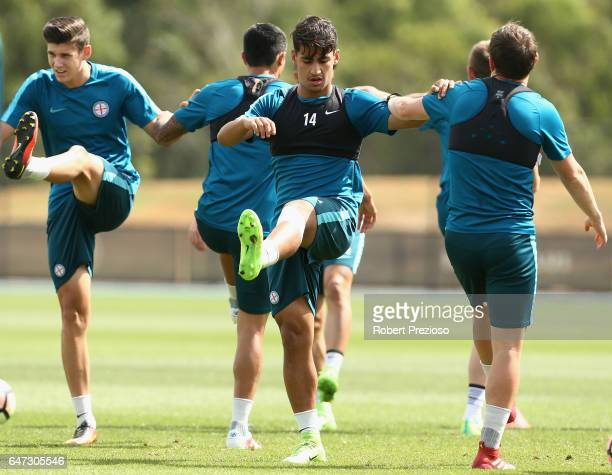 Daniel Arzani stretches during a Melbourne City FC training session at City Football Academy on March 3 2017 in Melbourne Australia
