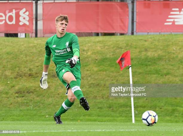 Daniel Atherton of Liverpool in action during the Liverpool v Blackburn Rovers U18 Premier League game at The Kirkby Academy on August 19 2017 in...